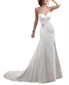 Amazon.com: GEORGE BRIDE Beaded Halter Chiffon Chapel Train Beach Wedding Dress: Clothing