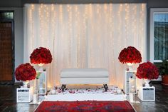 Dais with led lights Pelamin Simple, Diy Pelamin, Simple Wedding Decorations, Simple Weddings, Wedding Themes, Reception Stage Decor, Red And White Weddings, Wedding Table Settings, Dream Wedding