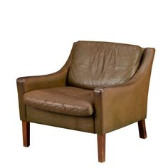Leather and Beechwood Armchair