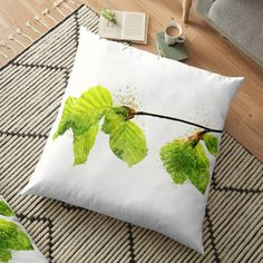 'Beech leaves in May Watercolor' Floor Pillow by WesternExposure Designer Pillow, Pillow Design, Floor Pillows, Throw Pillows, Pillow Shams, Cushions, Indoor, Leaves, Flooring