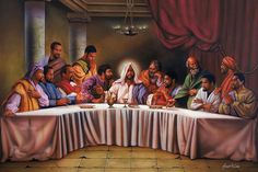 """Learn more about our best selling Last Supper art prints. This one is entitled """"The Last Supper"""" by Aaron and Alan Hicks. Black Art Painting, Black Artwork, African American Artwork, African Art, Last Supper Art, Blacks In The Bible, Art Amour, Arte Hip Hop, Black Jesus"""