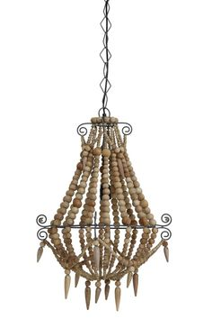 Hanging lamp beads 42x42x56 cm LYNA wood natural