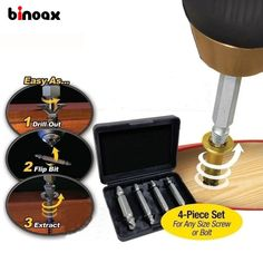 3.38$  Know more - Binoax 4Pcs Screw Extractor Drill Bits Guide Set Broken Damaged Bolt Remover Double Ended Damaged Screw Extractor 1# 2# 3# 4#   #magazineonline