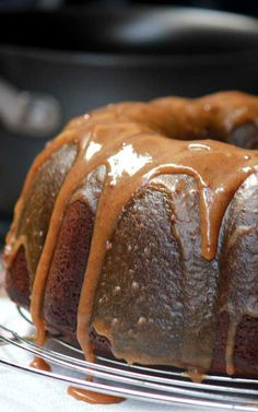 """Double Caramel Pound Cake - """"My family has made this for decades, and it is definitely an old time favorite. Caramel Pound Cake Recipe, Pound Cake Recipes, Cupcakes, Cake Cookies, Cupcake Cakes, Just Desserts, Delicious Desserts, Dessert Recipes, Caramel Icing"""