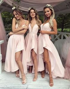 Simple V-Neck Pink High Low Prom Dress,Bridesmaid Dress,Elegant Evening Dress,Evening Gown,Prom Formal Dress Source by Dresses High Low Bridesmaid Dresses, Prom Party Dresses, Wedding Bridesmaids, Wedding Dresses, Long Dresses, Evening Dresses, Dress Prom, Dress Long, Pink Brides Maid Dresses
