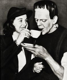Constance Moore and Boris Karloff on the set of Son of Frankenstein