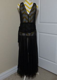 1920s or Early 20th Century Black Over Dress by VictorianWardrobe