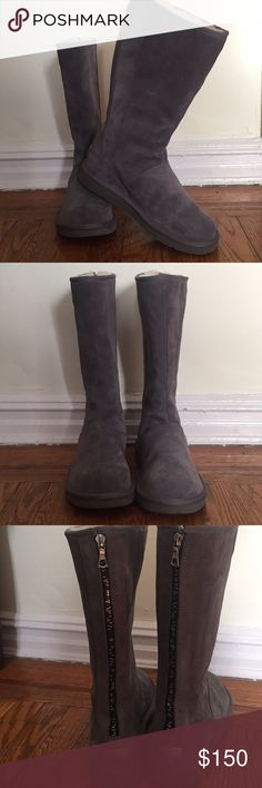 Brand new gray UGG boots , size 11, no box . Original women's UGG boots , gray , zipper in the back , brand new , no box UGG Shoes Winter & Rain Boots