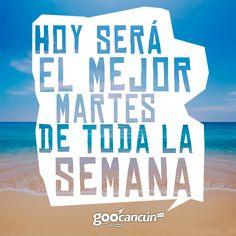 Hoy será el mejor #martes de toda la semana ¡Ánimo! http://www.facebook.com/goocancun www.goocancun.com   www.bingologo.com