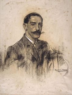 Portrait of Joaquim Malats (Ramon Casas y Carbó - ) Guy Drawing, Drawing Sketches, Painting & Drawing, Drawings, Sketching, Academic Drawing, Academic Art, Ramones, Modernisme