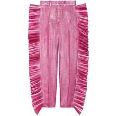 gucci pink metallic frill trousers