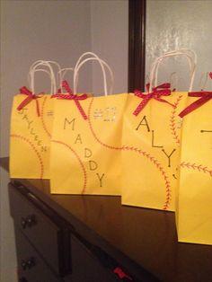 Softball Team Party goody bags