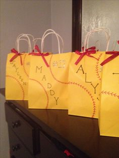 Softball Team Party goody bags