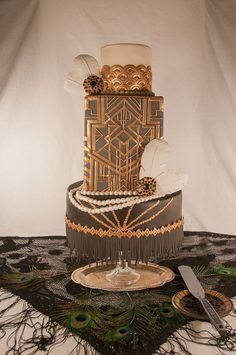 Art Deco Cake www.tablescapesbydesign.com https://www.facebook.com/pages/Tablescapes-By-Design/129811416695