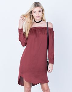 Front View of Satin Off-the-Shoulder Dress