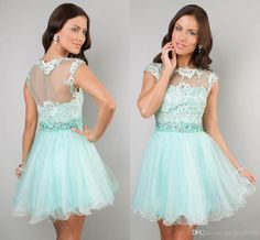 Discount Sexy Cheap Sheer Backless Homecoming Dresses Lace Appliques Beaded Mint Cap Sleeve Girls' Short Prom Cocktail Graduation Party Gowns 2014 Online with $81.05/Piece | DHgate
