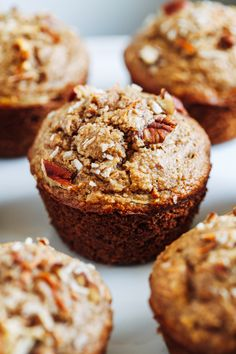 Healthy Flourless Morning Glory Muffins- packed full of healthy ingredients, these muffins make a perfect on-the-go breakfast or snack. They also happen to be gluten-free, oil-free, dairy-free, and refined sugar-free! Healthy Sweets, Healthy Baking, Healthy Snacks, Healthy Fruits, Healthy Breakfasts, Protein Snacks, High Protein, Morning Glory Muffins, Monkey Bread