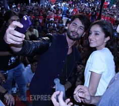 Shahid Kapoor takes a #selfie with his pretty co-star Shraddha Kapoor while promoting Haider. #Bollywood #Fashion #Style #Beauty