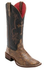 Anderson Bean® Macie Bean™ Women's Tan Texas Rose Embossed w/Black Glove Top Double Welt Square Toe Western Boots | Cavender's