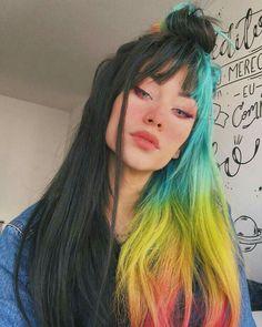 Hair Color Purple, Hair Dye Colors, Cool Hair Color, Scene Hair Colors, Two Color Hair, Coral Hair, Creative Hair Color, Neon Hair, Color Black