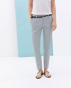 Image 2 of STRIPED TROUSERS WITH BELT from Zara