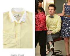 Shoes back from Season 1 and a bow tie to match his striped trousers make for a deliciously understated, but still fabulous Kurt Hummel getup. Also available in a women's version. Frank & Eileen Bengal Stripe Dress Shirt - $225.00 Worn with: Brooks Brothers trousers