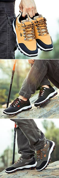 Men Hiking Metal Buckle Shock-absorbing Slip Resistant Outdoor Sneakers is fashionable and cheap, buy best sneakers for plantar fasciitis for family-NewChic. Non Slip Sneakers, Best Sneakers, Mens Hiking Boots, Men Hiking, Knit Shoes, Men's Shoes, Shoes Men, Black Ankle Boots, Black Shoes