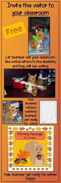 FREE....Invite Scamper to your classroom to get ready for winter. She will write a letter to your students each morning. The children correct the letter she has written. What a great way to make Daily Oral Language fun for your students.