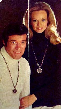Lynda and husband, actor Chris George, model Sarah Coventry jewelry, 1974.