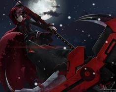 Rating: Safe Score: 254 Tags: animal boots cape cross gray_eyes lepus moon pantyhose petals red_hair ruby_rose rwby scythe short_hair signed snow weapon wolf User: SciFi