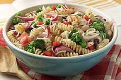 I love this pasta salad recipe.  I usually put in tomatos and you can really add whatever you like. So good!