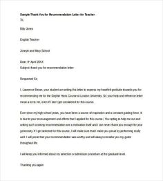 2cdc923d6509dfac8001eaa089d19926 Teacher Recommendation Letter Templates on personal reference, graduate school, law school,