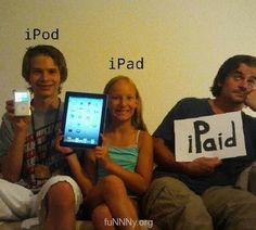 iFamily. Hahhaha, so funny! #ipod #ipad #family #funny