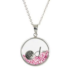 """Athra Silver-Plated """"Hope"""" Shaker Pendant with Pink Crystals  at www.bonton.com"""