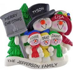 Snowman Family, 3 children Personalized Ornament. This ornament and many more can be found at www.ornaments.com