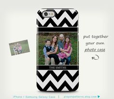 Black/White Chevron iPhone Case with Personalized Photo | playonpatterns on Etsy https://www.etsy.com/listing/231704076/iphone-6-case-iphone-5-case-custom-photo