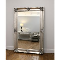 Floor mirrors – William Wood Mirrors Silver Wall Mirror, Ornate Mirror, Silver Walls, Wood Mirror, Beveled Mirror, Extra Large Mirrors, Zen Room, House Rooms, Bedroom Decor