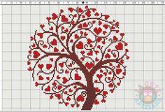 La Cute Artesana: Punto de Cruz: Árbol de corazones en punto de cruz: