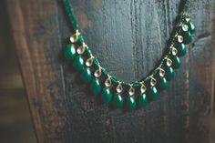 22k Indian Gold Kundan Green Onyx Necklace Earrings by ZariLove