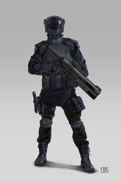The Specialist Pedroxan military armor. Armadura Sci Fi, Futuristic Armour, Sci Fi Armor, Future Soldier, Armor Concept, Suit Of Armor, Body Armor, Cyberpunk Art, Sci Fi Characters