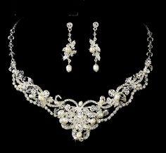 - Freshwater Pearl and Crystal Wedding Jewelry ne7825--Affordable Eleg