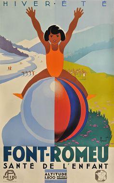 Vintage Travel Poster - Font-Romeu - Santé de l'Enfant - France - by Pierre Commarmond.