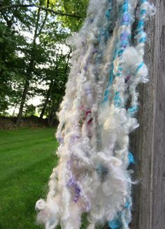 Handspun Yarn Art Yarn Lockspun Teeswater Wool by RainbowTwistShop