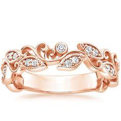 14K Rose Gold Ivy Scroll Diamond Ring, top view
