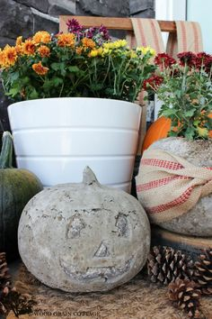 Concrete Pumpkin Craft DIY Tutorial