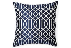 Jax 20x20 Embroidered Pillow, Navy on OneKingsLane.com
