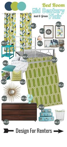 Design for Renters: Mood Board Mid Century Flair  Love this mood board - especially the curtains!
