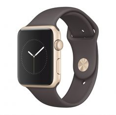 Apple Watch Series 1 goud alu 42mm cocoa sportbandje  SHOP ONLINE: http://www.purelifestyle.be/shop/view/technology/apple-watch/apple-watch-series-1-goud-alu-42mm-cocoa-sportbandje