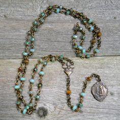 Saint Philomena / Sacred Heart / Artisan Rosary / by DeLucaArt, $60.00