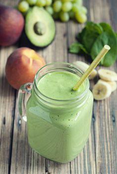 Banana Peach Green Smoothie made with Greek Yogurt.